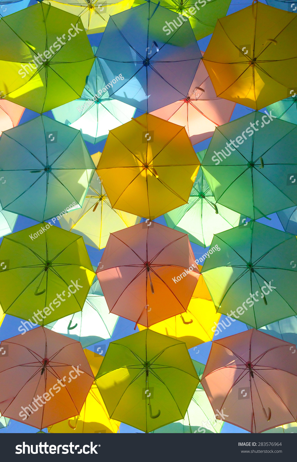Many Colorful Umbrella Worm Eye View Stock Photo (Edit Now ...