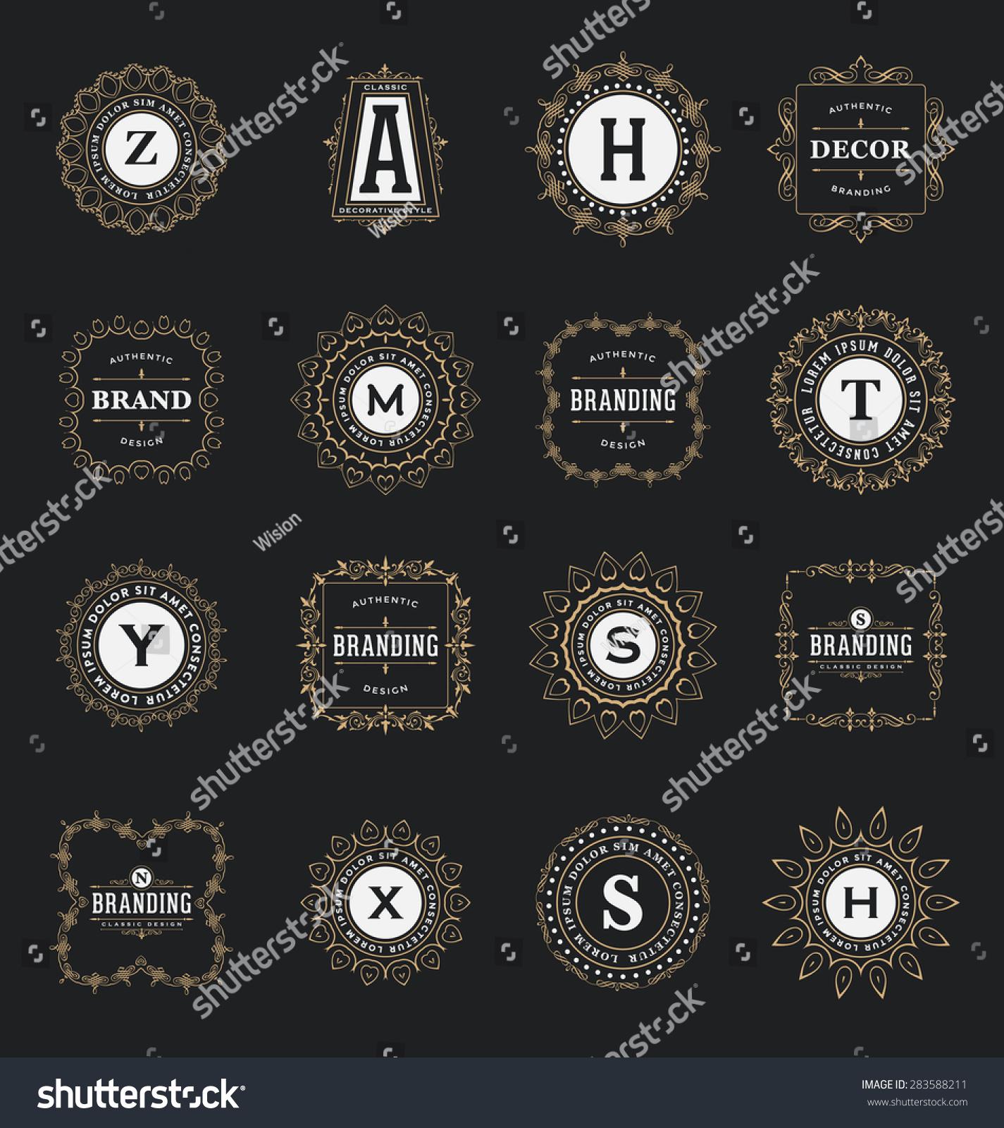 Set Calligraphic Label Design Templates Classic Stock Vector ...