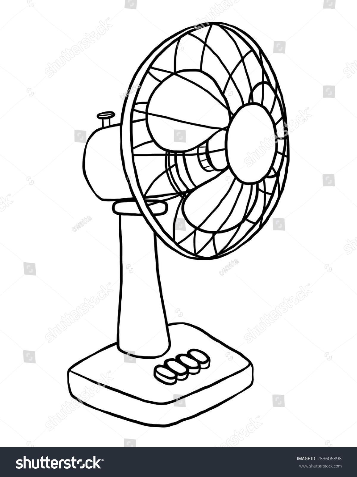Electric Fan Cartoon : Electric fan cartoon vector illustration black stock