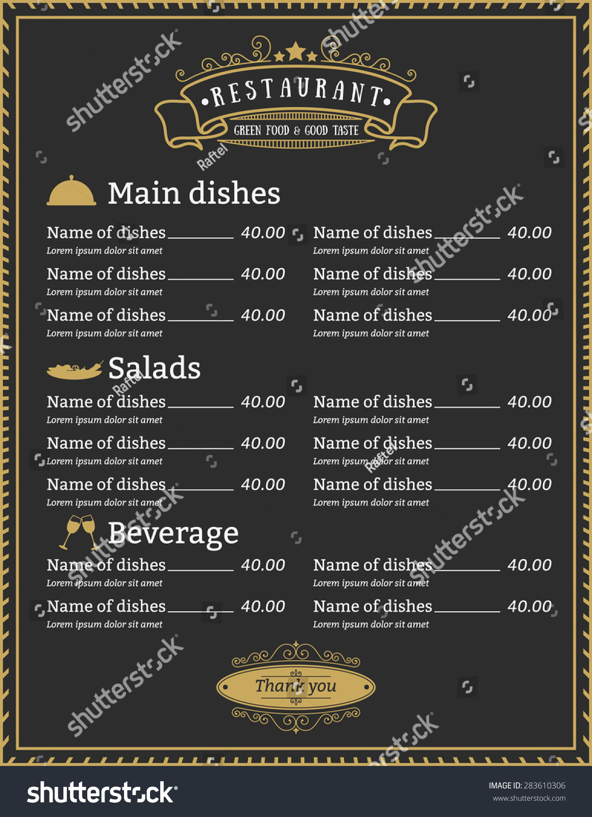elegant restaurant menu template design gold stock vector royalty