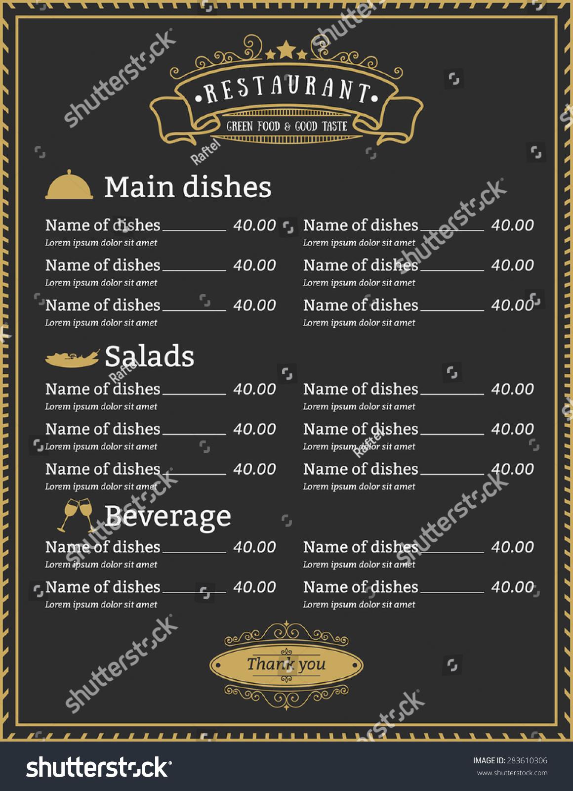 Elegant Restaurant Menu Template Design Gold Stock Vector (Royalty ...