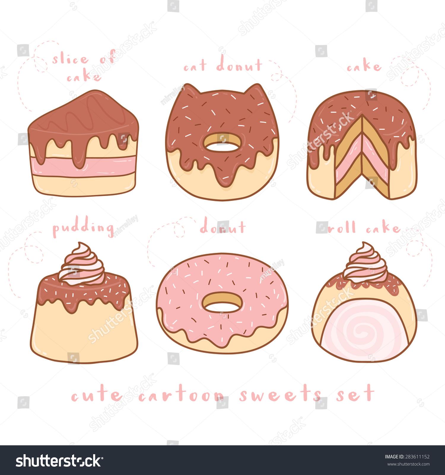Cute Cartoon Cake Images : Cute Cartoon Sweets Set Cake Slice ????????????? 283611152 ...