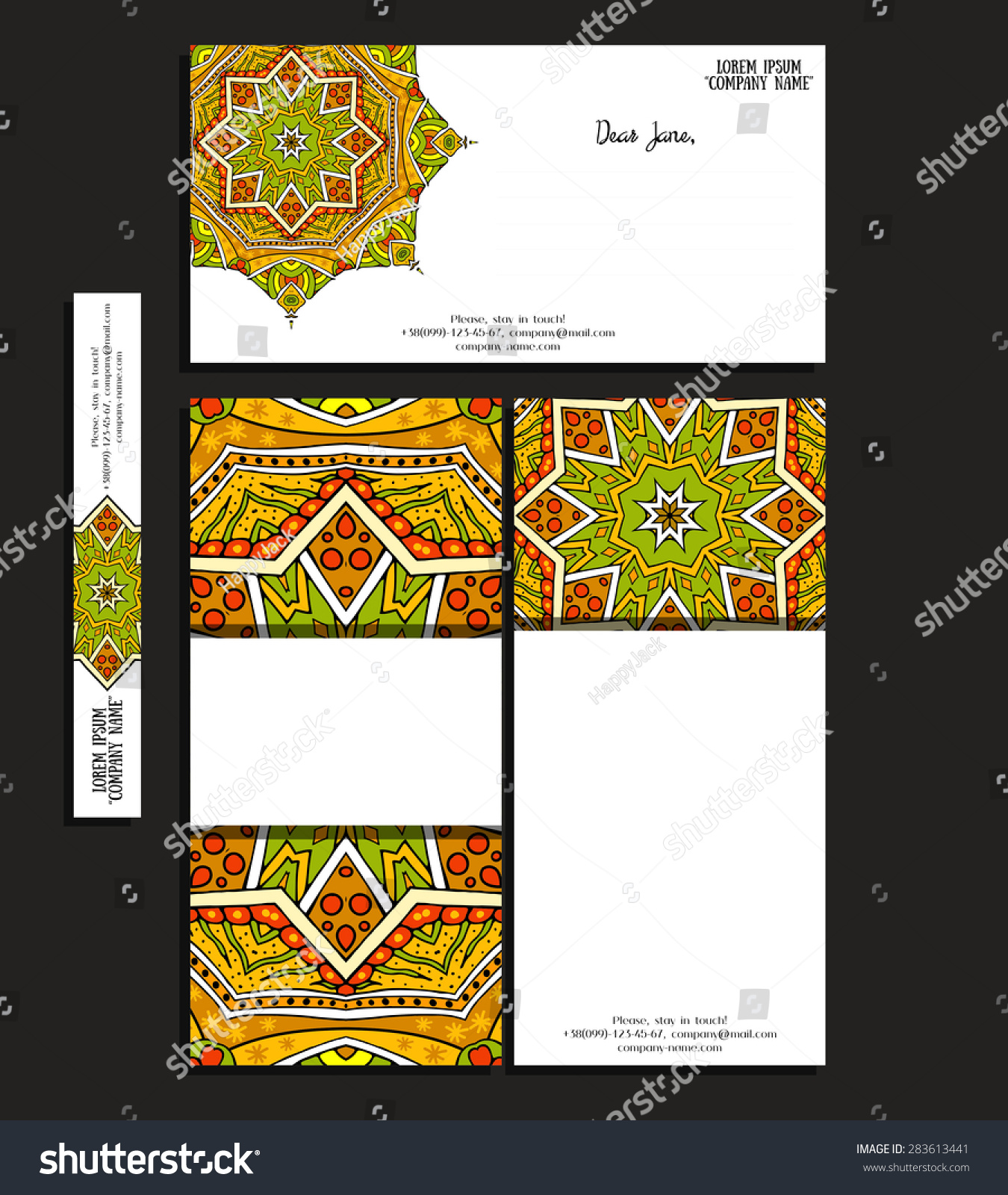 Set Corporate Business Brochure Greeting Card Stock Vector 283613441 ...