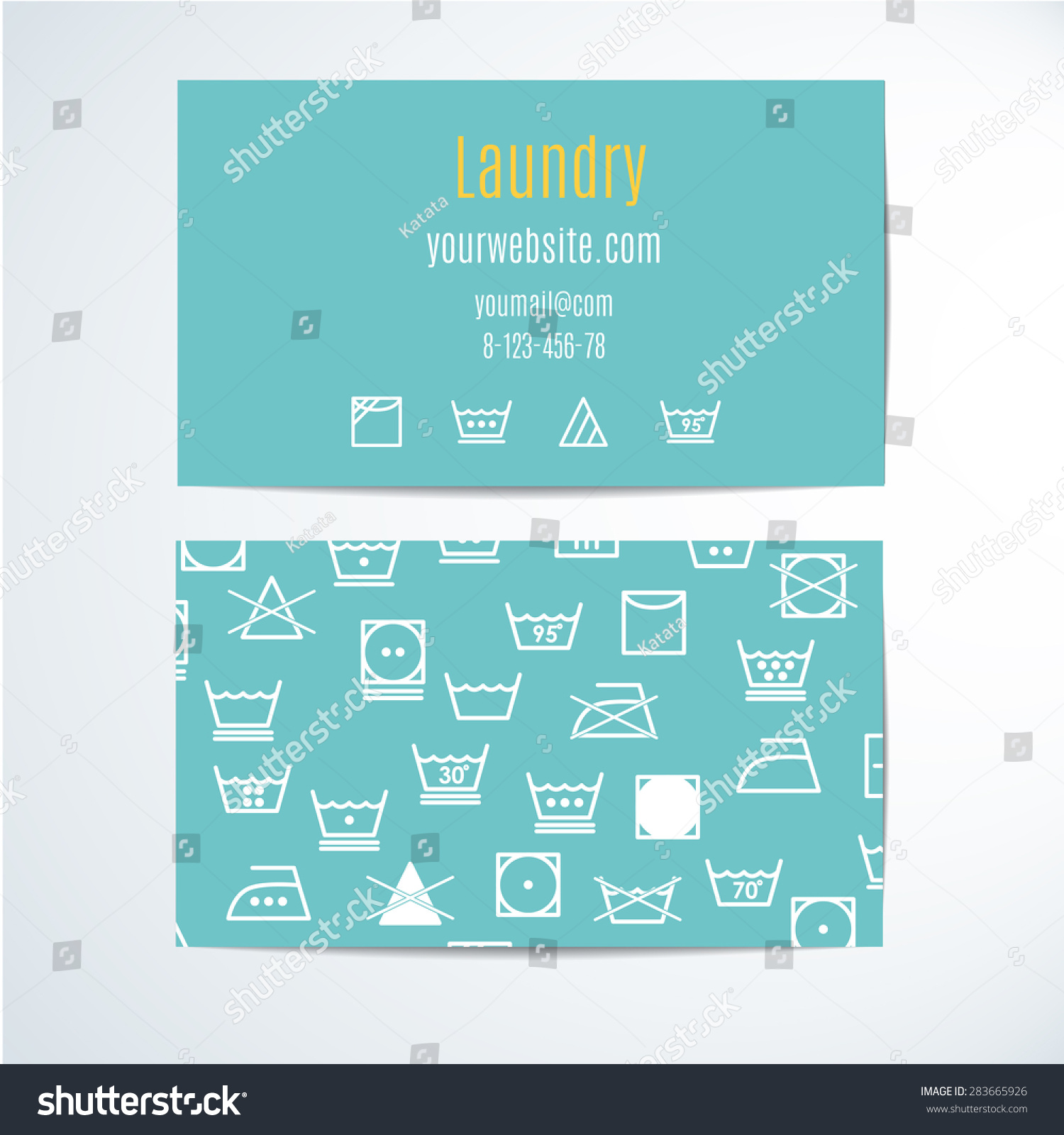 Template Business Cards Symbols Laundry Garment Stock Vector