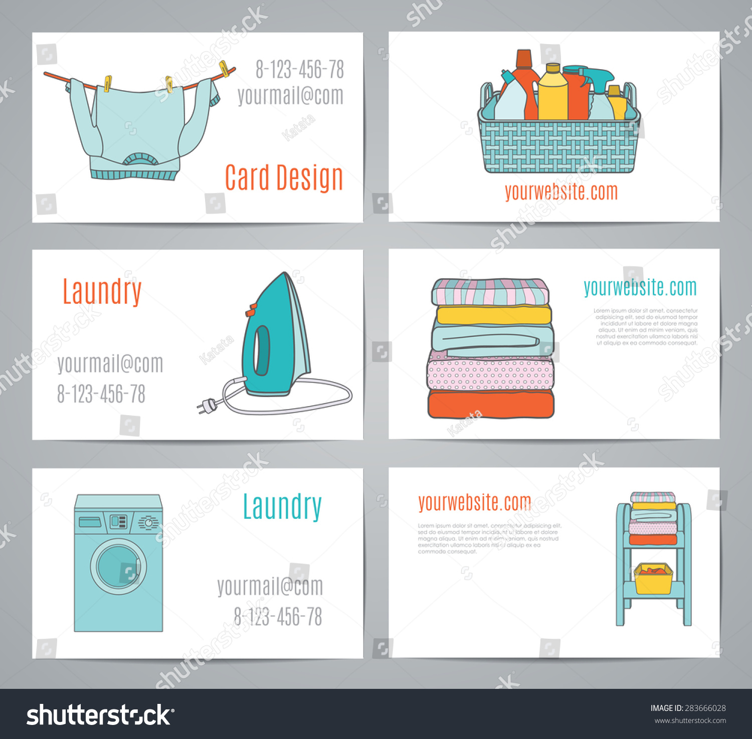 Business Cards Laundry Linear Art Sweater Stock Vector 283666028 ...