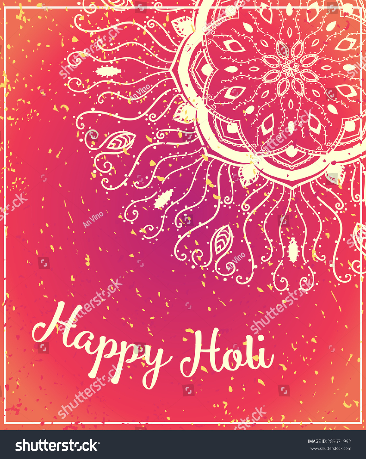 Ornametal Happy Holi Dolyatra Celebration Card Stock Vector 2018