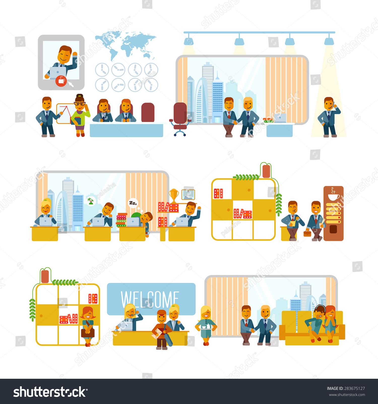 cartoon businessmen office their typical activities のベクター画像