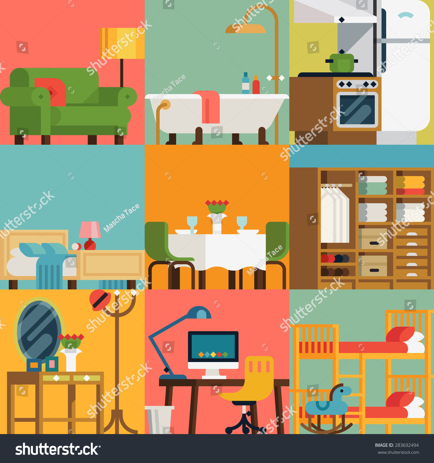 Set lovely colorful vector interior design stock vector for Room design vector