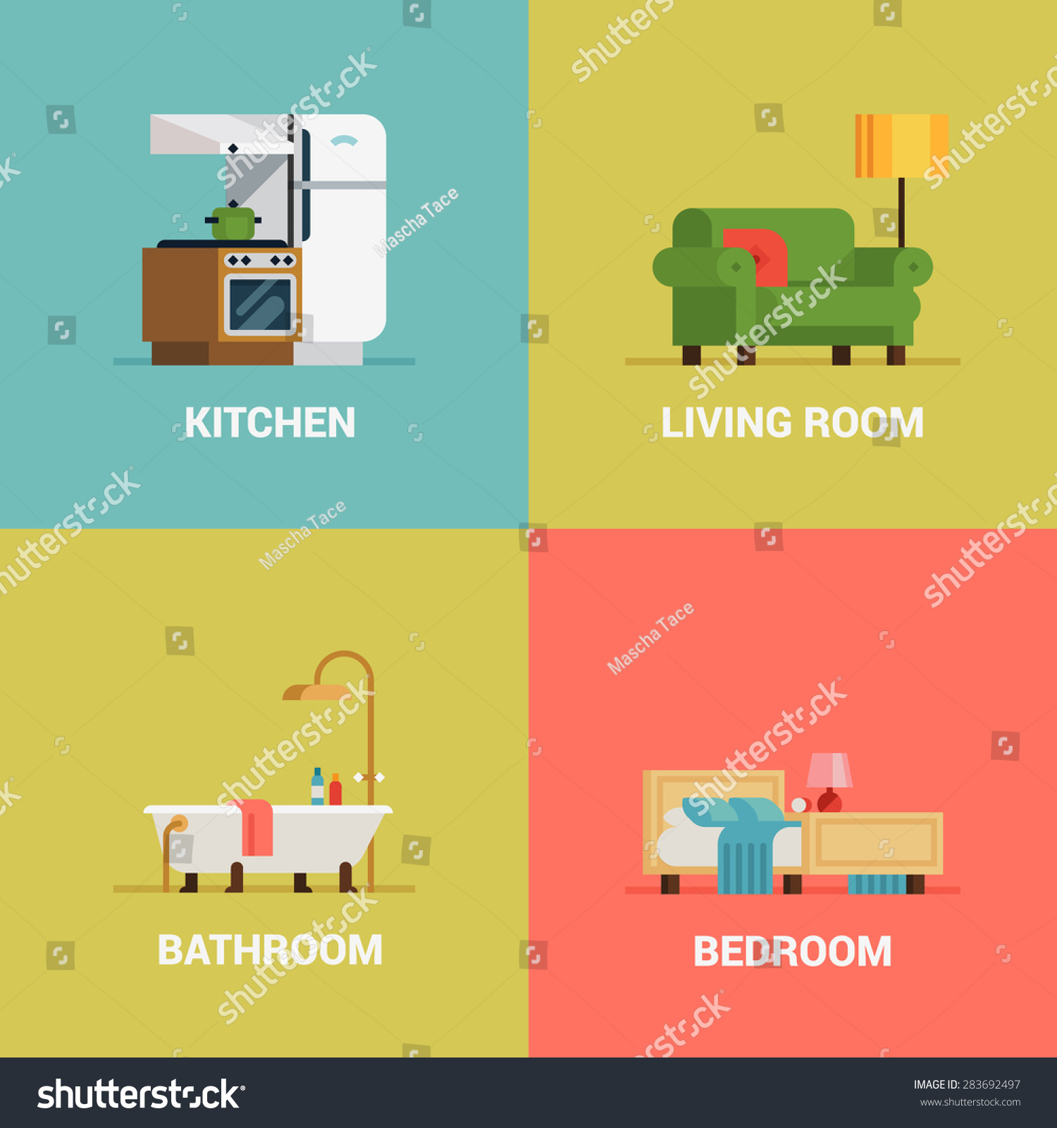Set Of Lovely And Colorful Vector Interior Design Room Types Web Icons In Trendy Flat