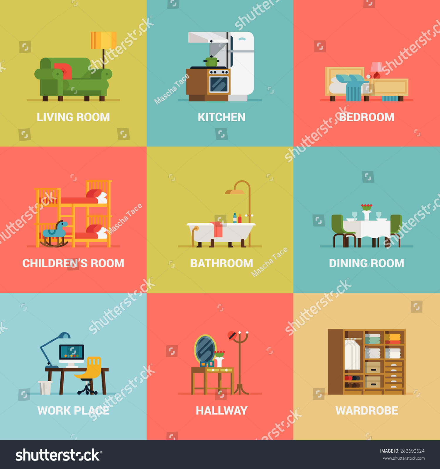 Set of lovely and colorful vector interior design room types icons in ...: www.shutterstock.com/th/pic-283692524/stock-vector-set-of-lovely...