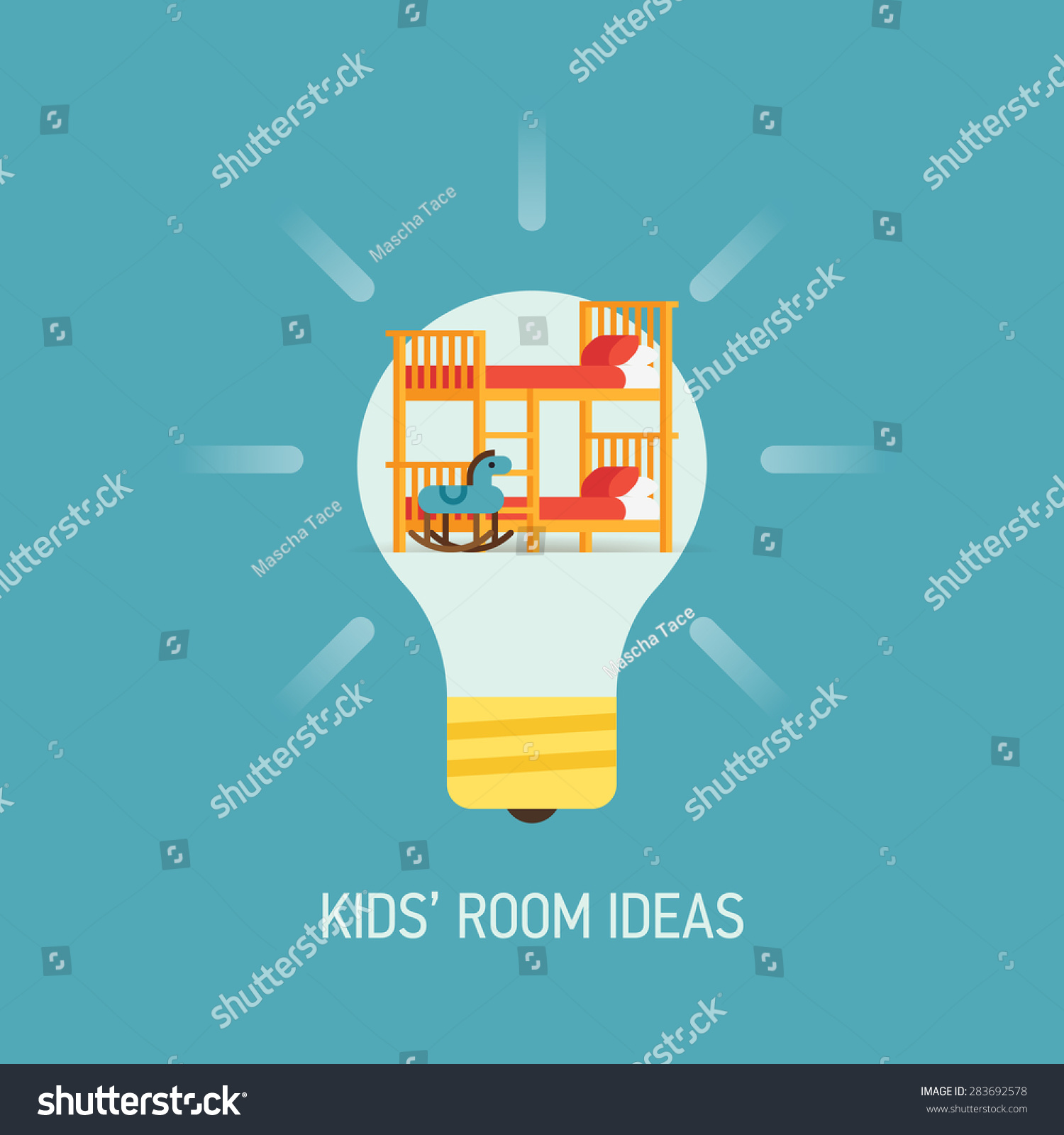 Kids Room Decoration Space Theme Vector Illustration: Cool Vector Flat Design Web Banner Stock Vector 283692578