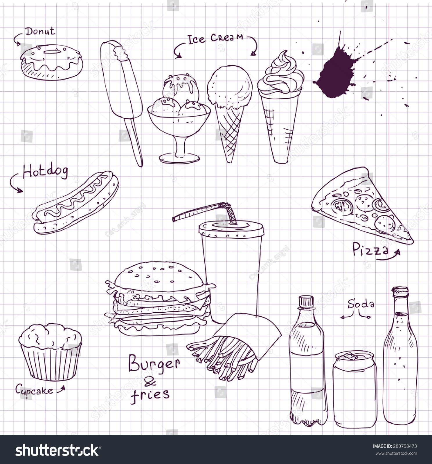 vector set of fastfood drawing by ink pen at paper from a school notebook junk
