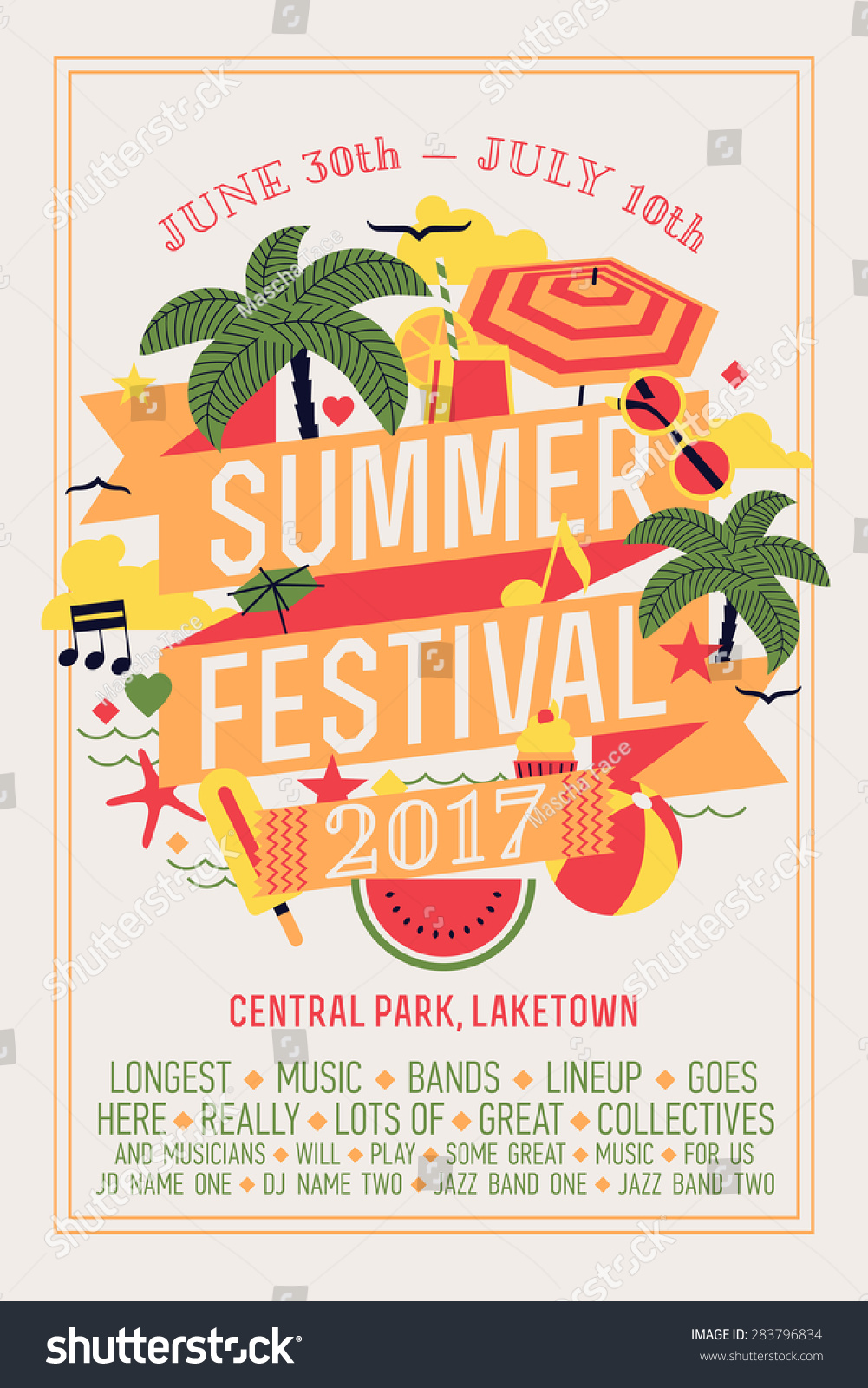 Beautiful Summer Festival Web Banner Printable Stock