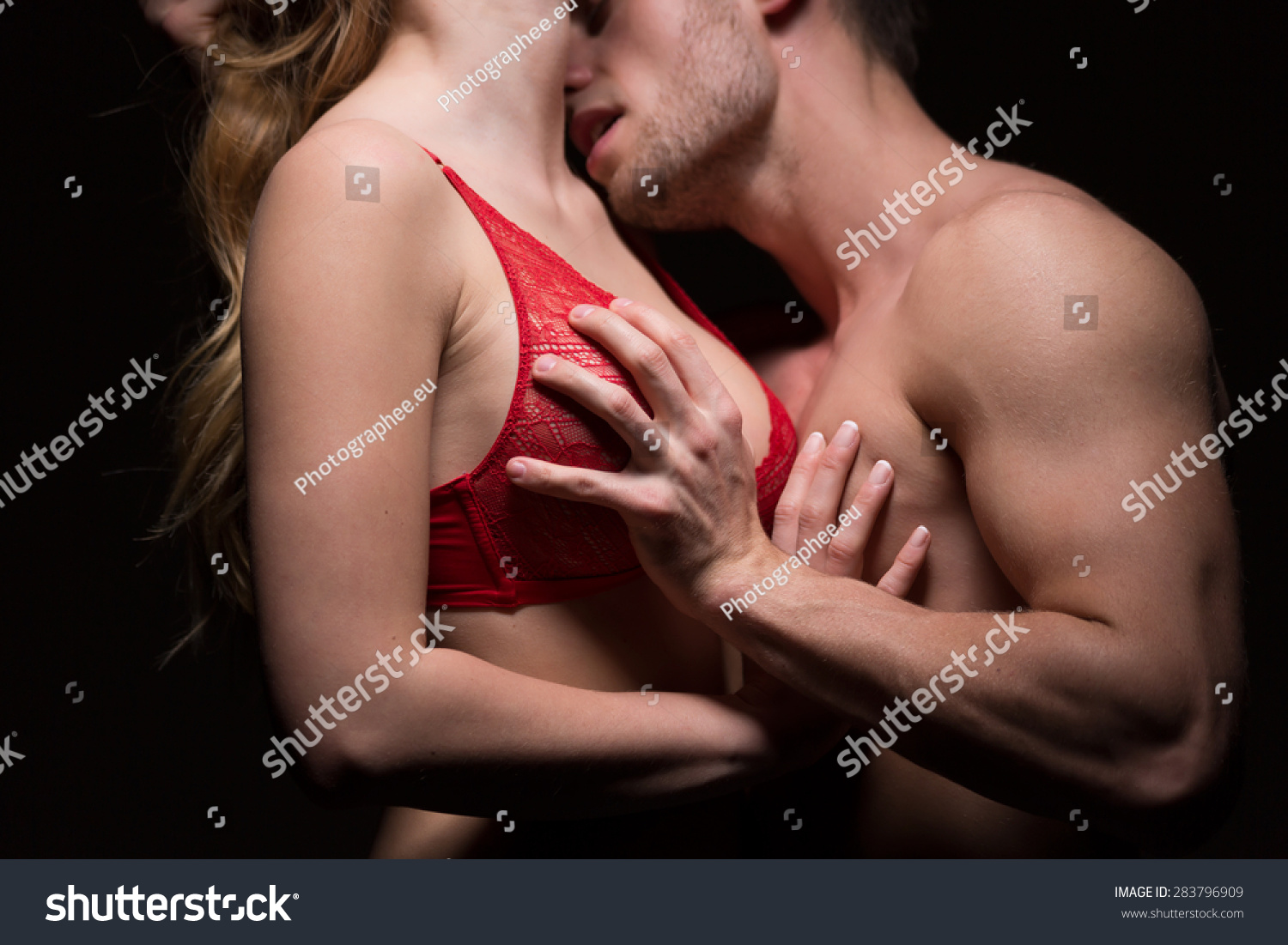 Passionate Man Kissing Woman Red Lingerie Stock Photo Edit Now 283796909