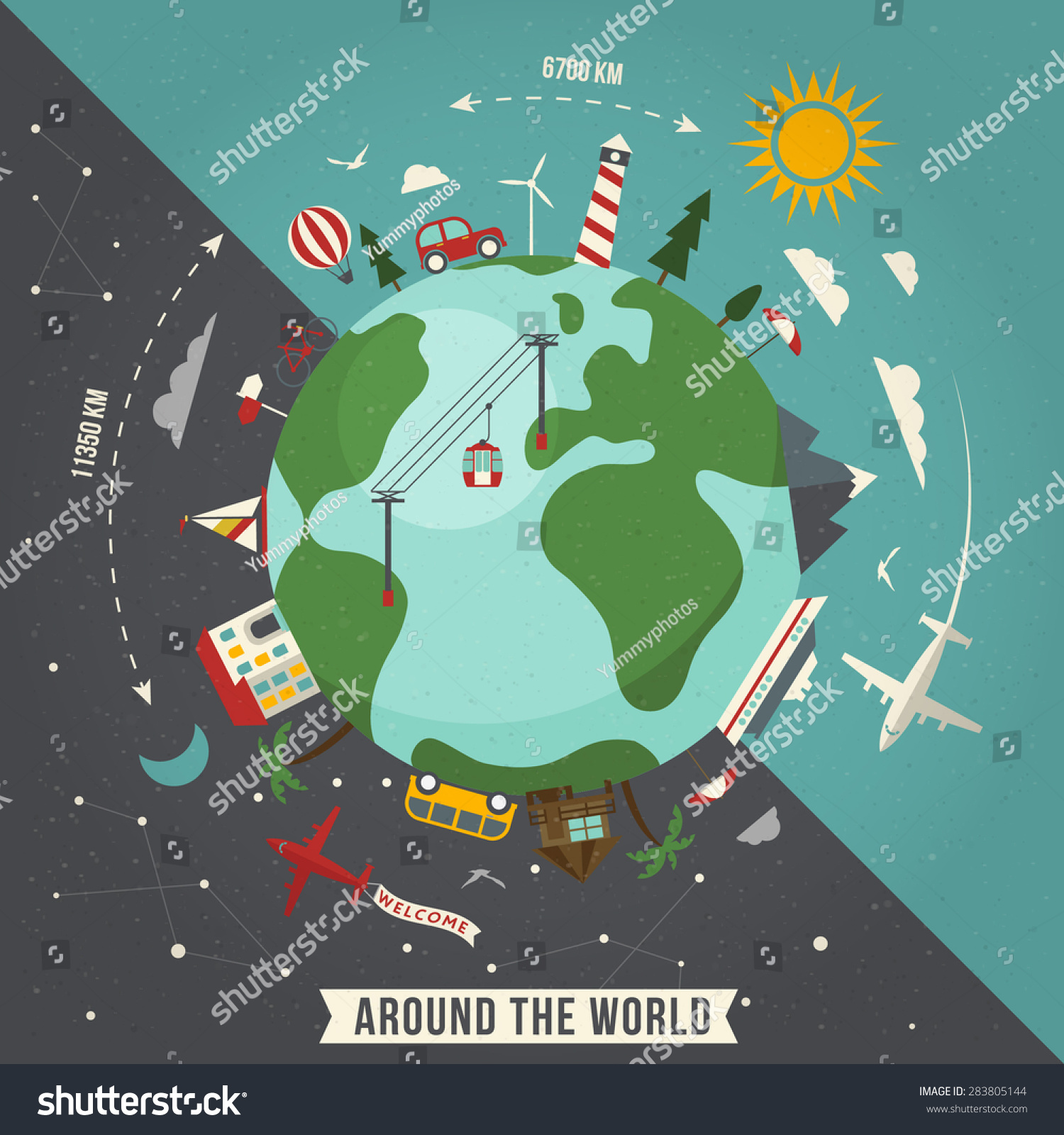 Around world travel illustration stock vector 283805144 for All inclusive around the world trip