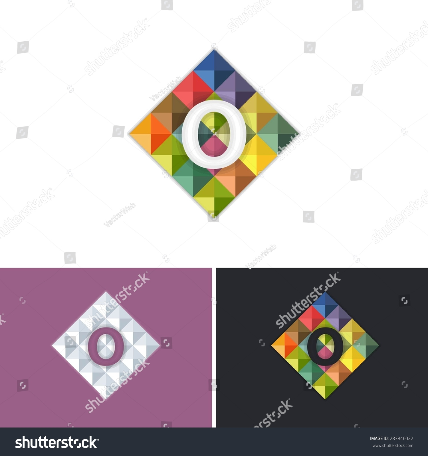 Letter o symbol triangle low poly stock vector 283846022 letter o symbol triangle low poly style vector graphic icons logo sign template buycottarizona