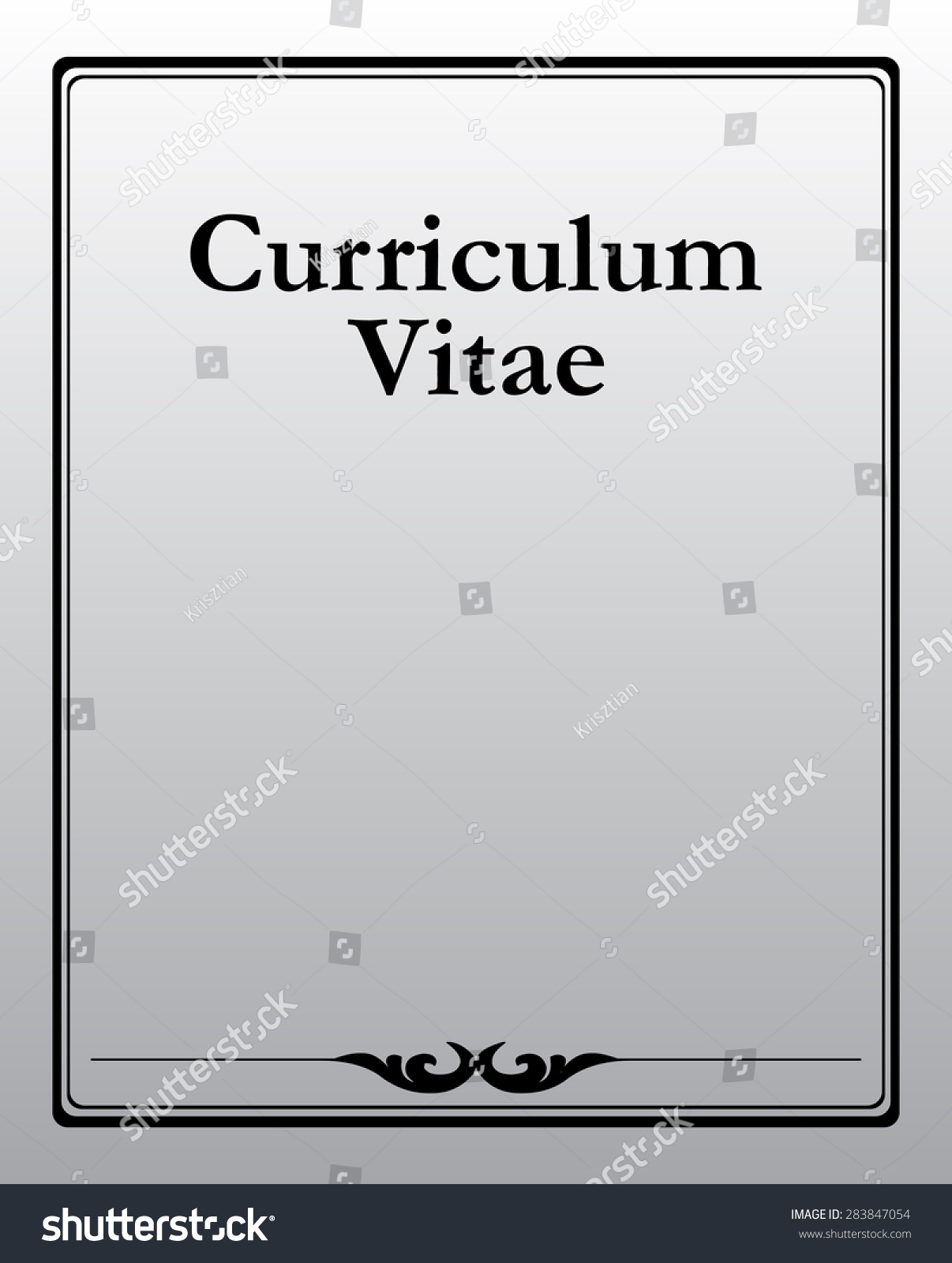 Curriculum Vitae Documentation Front Page Vector Stock Vector