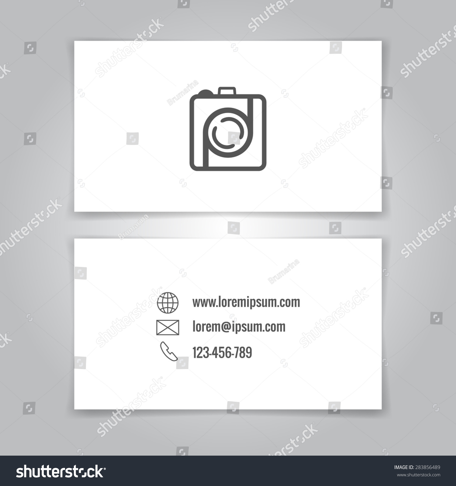 Modern Simple Business Card Template Camera Stock Vector 283856489 ...