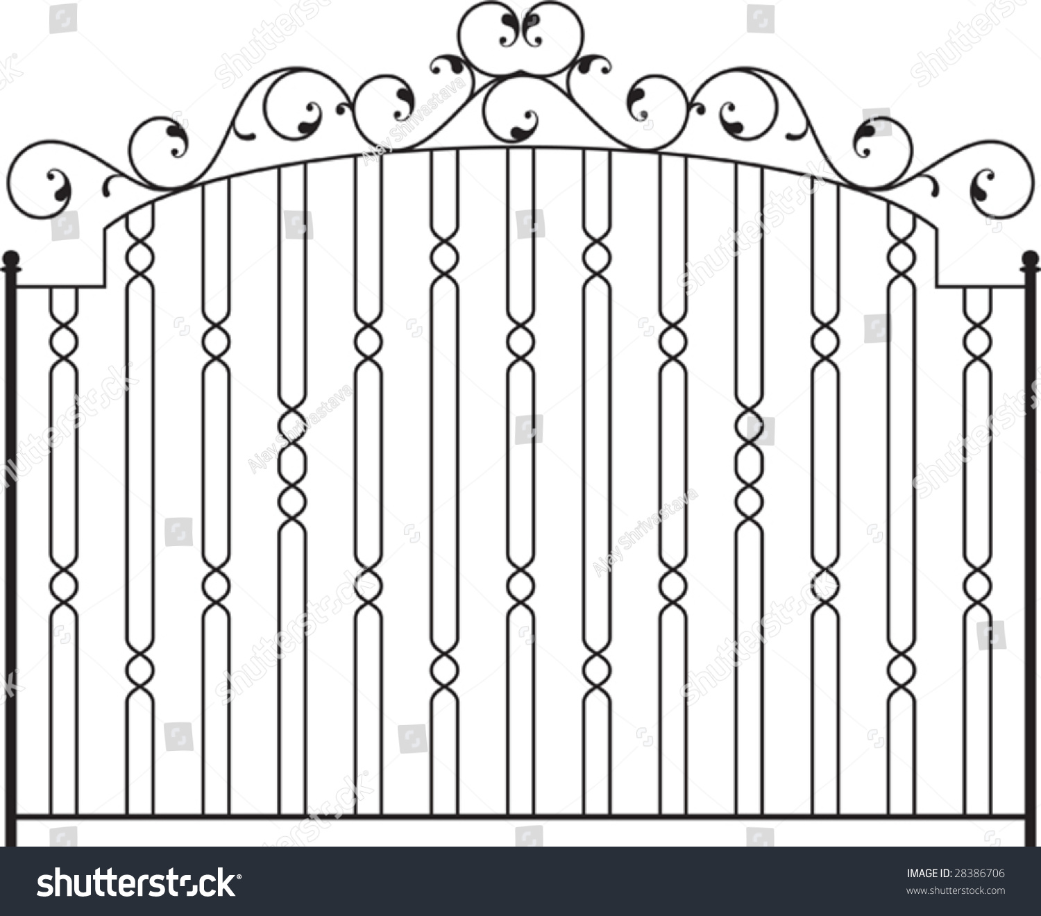 wrought iron gate fence window grill stock vector