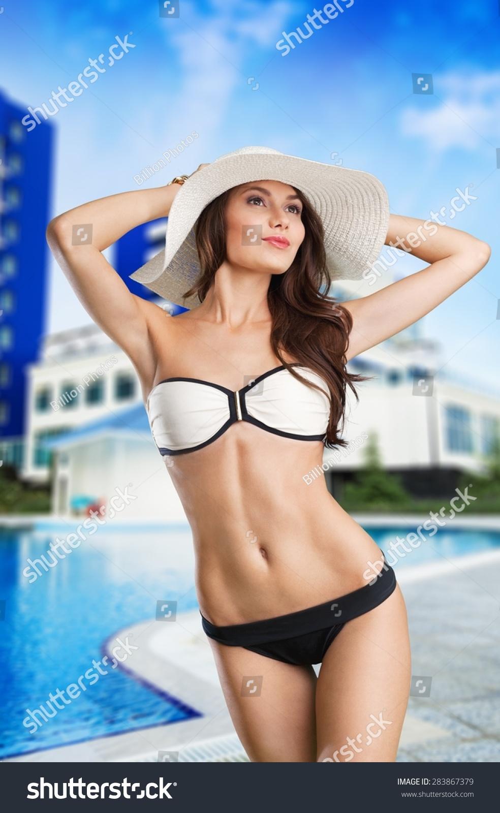 Beach Woman Breast Stock Photo (Edit Now) 283867379 ...