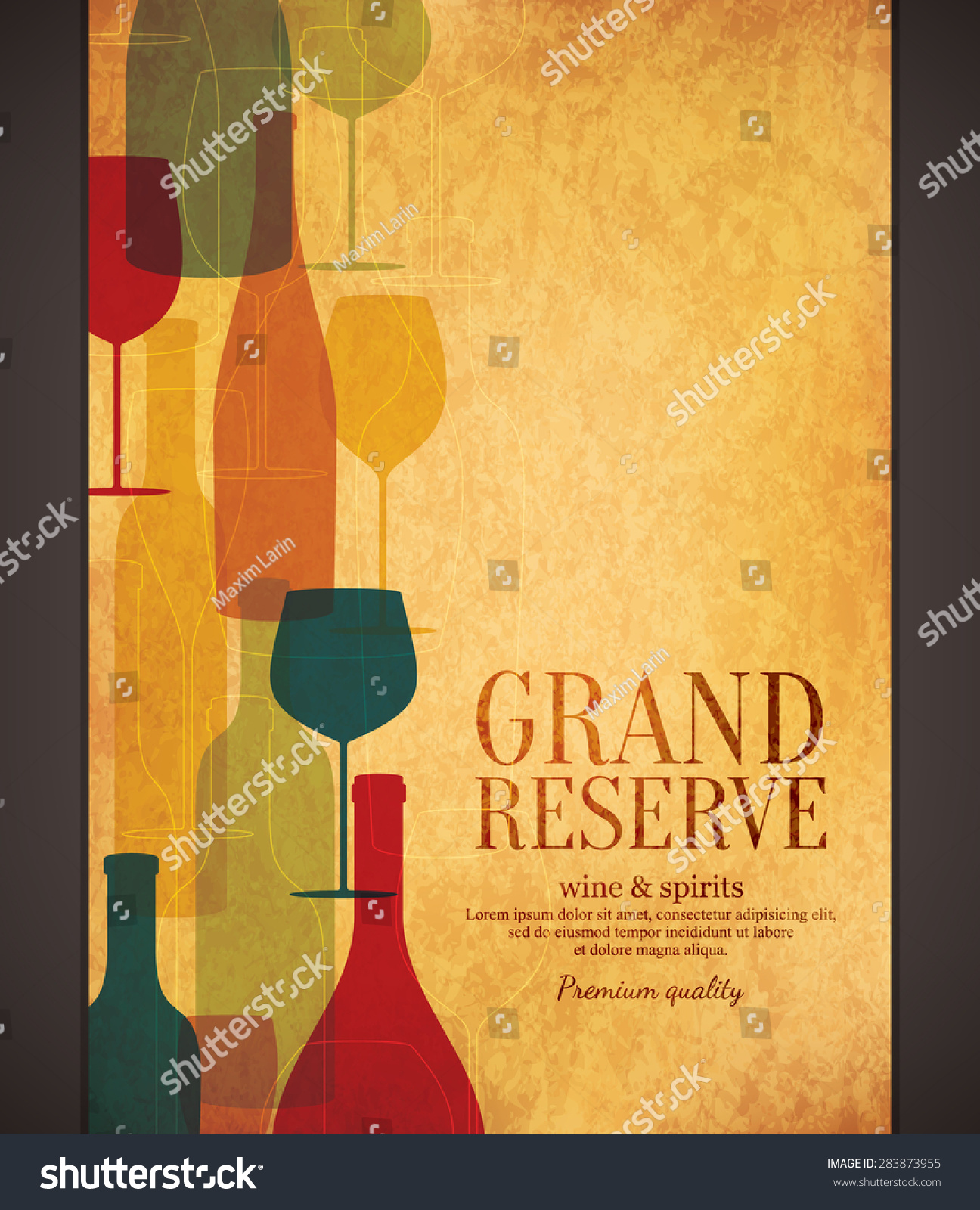 Wine list design vector brochure template stock vector for Wine brochure template free