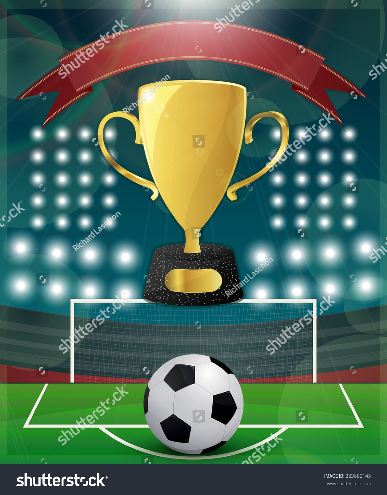 Football match day poster template golden stock vector for Sports day poster template