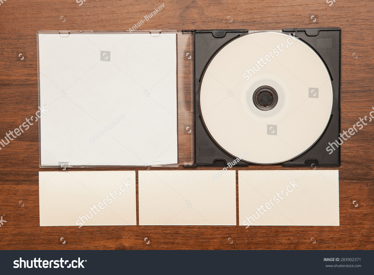 Dvd Rom Business Cards On Wooden Stock Photo 283902371 - Shutterstock
