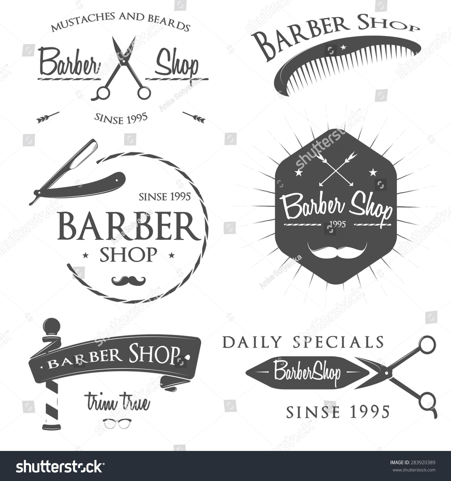 Clip art vector of vintage barber shop logo graphics and icon vector - All Images Photos Vectors Illustrations Footage Music Vintage Barber Shop Logo Set Badges And Design Element Gentleman Set Icons For