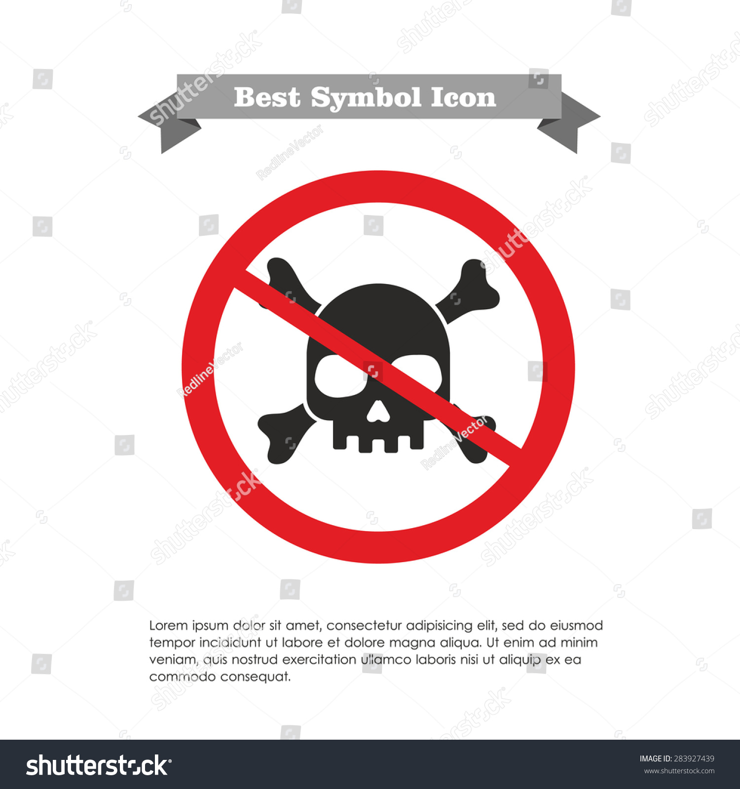 Icon skull crossbones prohibition sign text stock vector 283927439 icon of skull and crossbones in prohibition sign with text on grey ribbon and sample buycottarizona Images