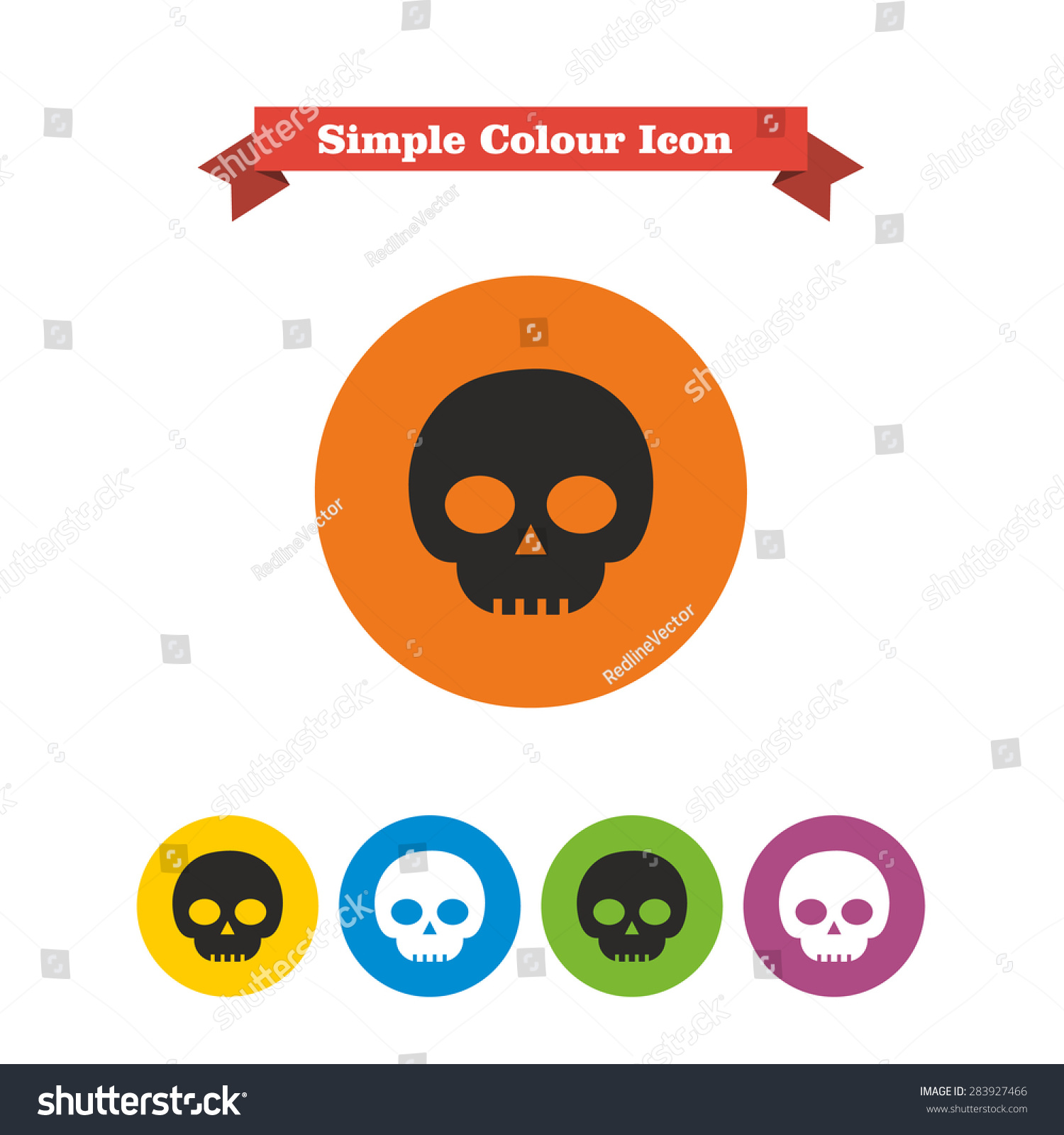 Set icons skull text on red stock vector 283927466 shutterstock set of icons with skull with text on red ribbon buycottarizona Images
