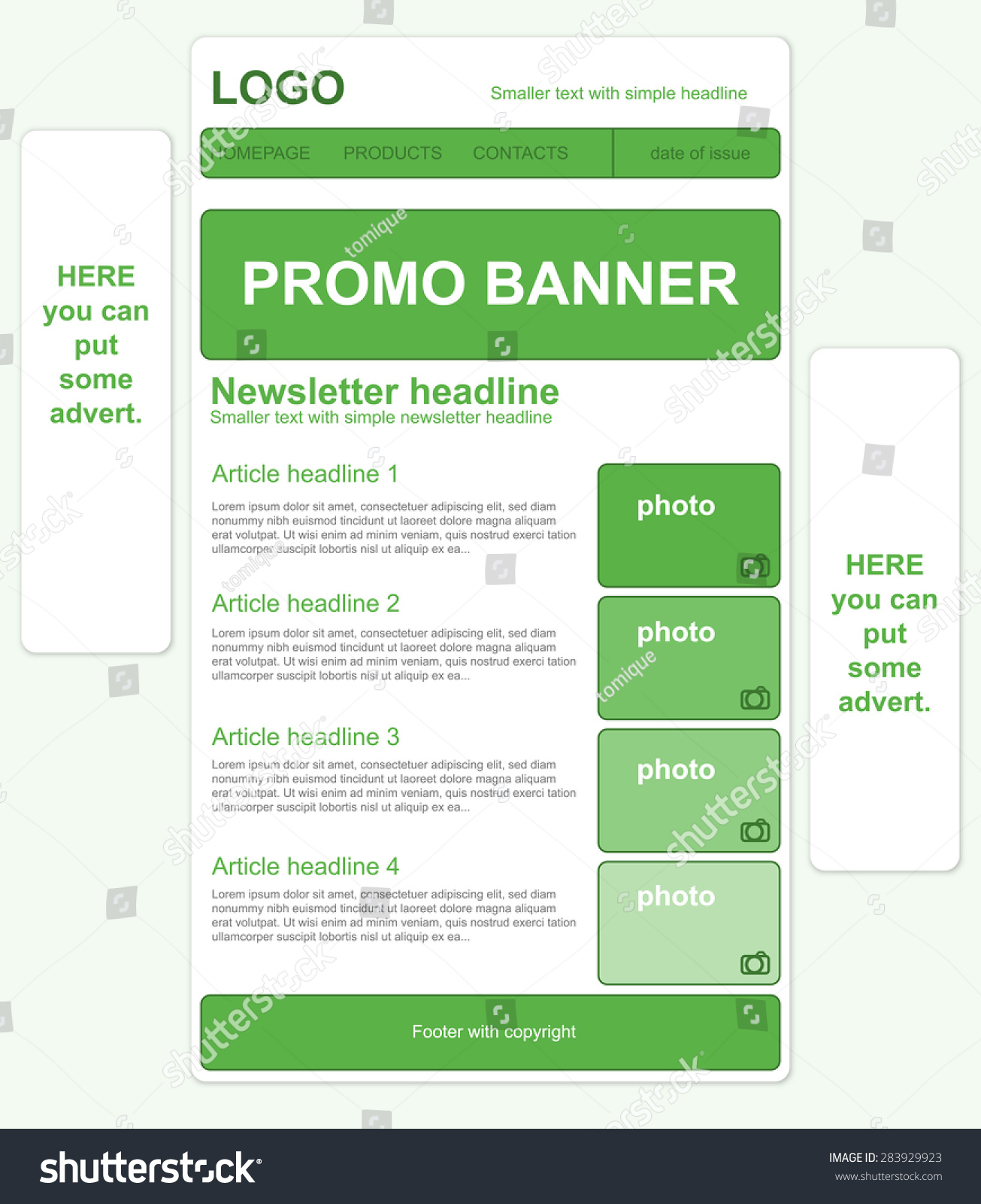 responsive newsletter template banners stock vector royalty free
