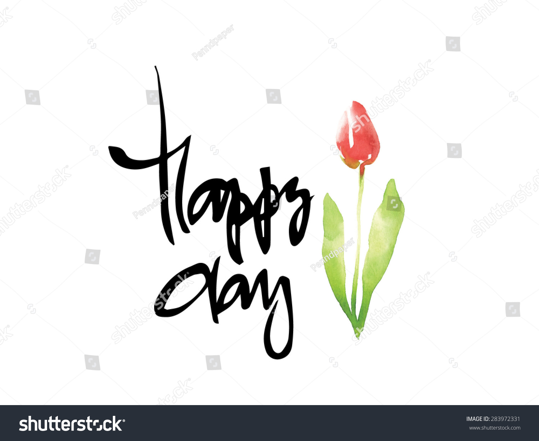 Calligraphy flower card stock vector illustration