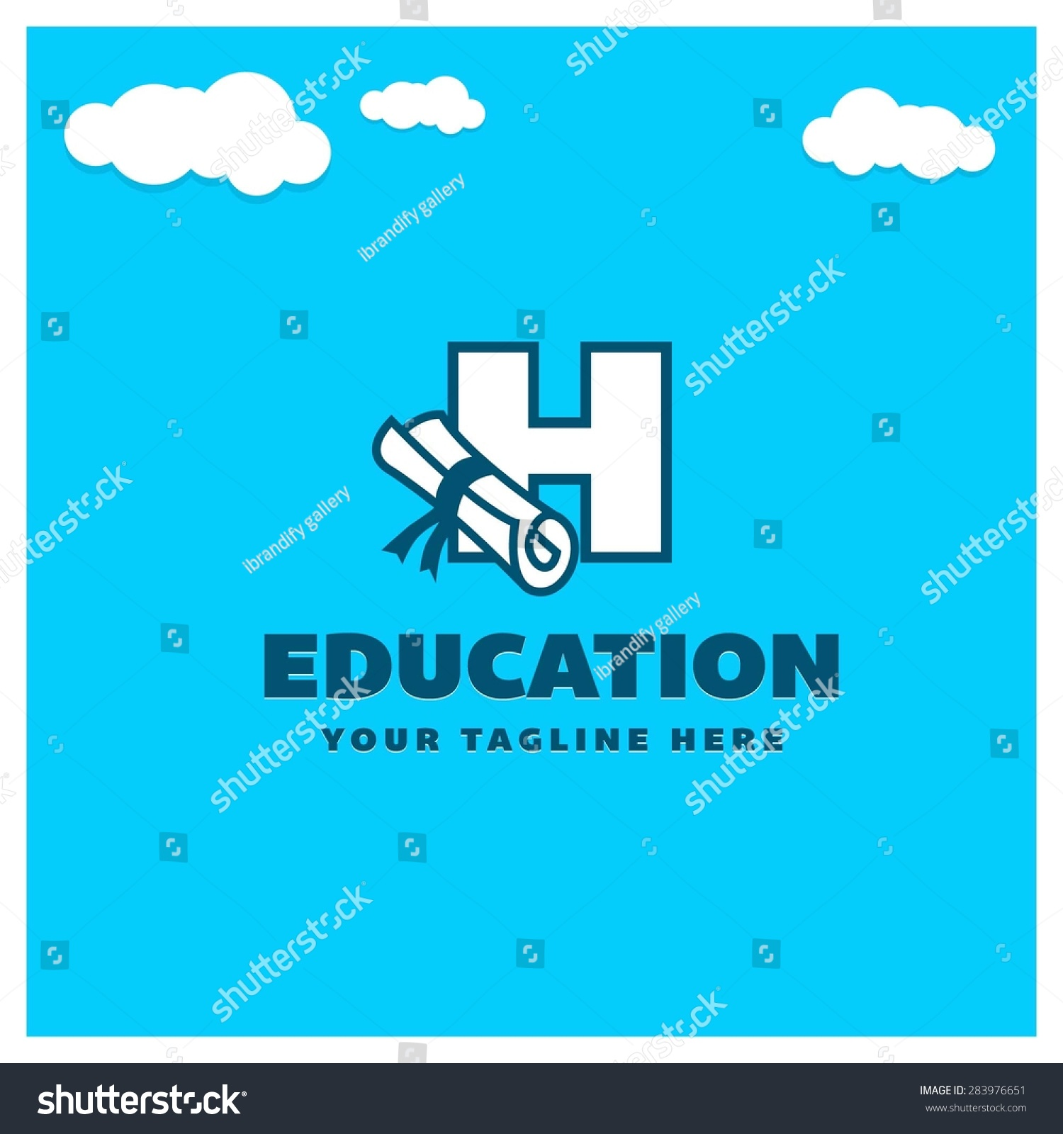 H tag background image - Education Letter H Logo University Logo Template On Blue Cloud Background Place For Company