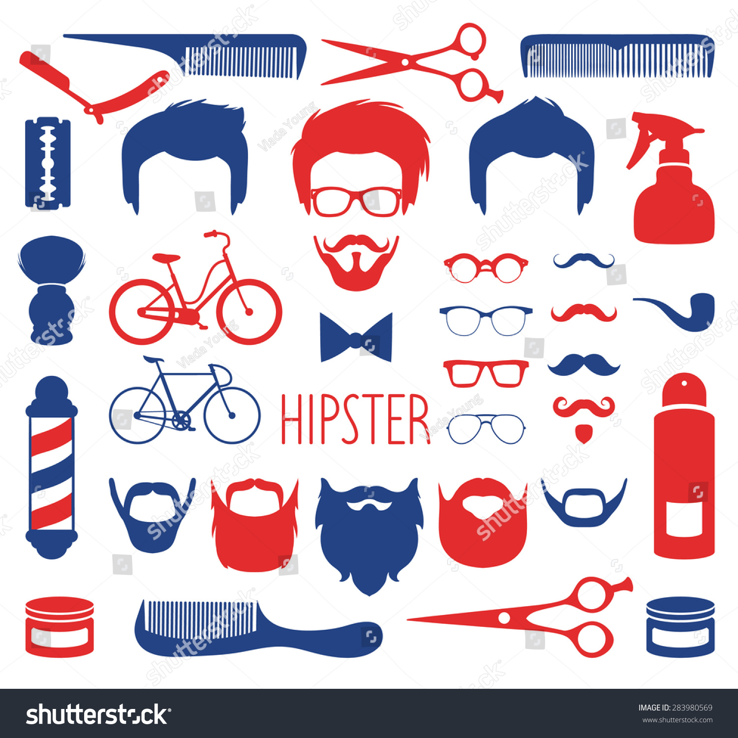 Dress up elements - Big Vector Set Of Dress Up With Different Men Hipster Haircuts Glasses Beard