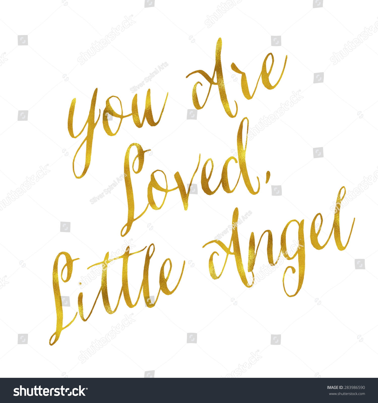 You Loved Little Angel Gold Faux Stock Illustration 283986590