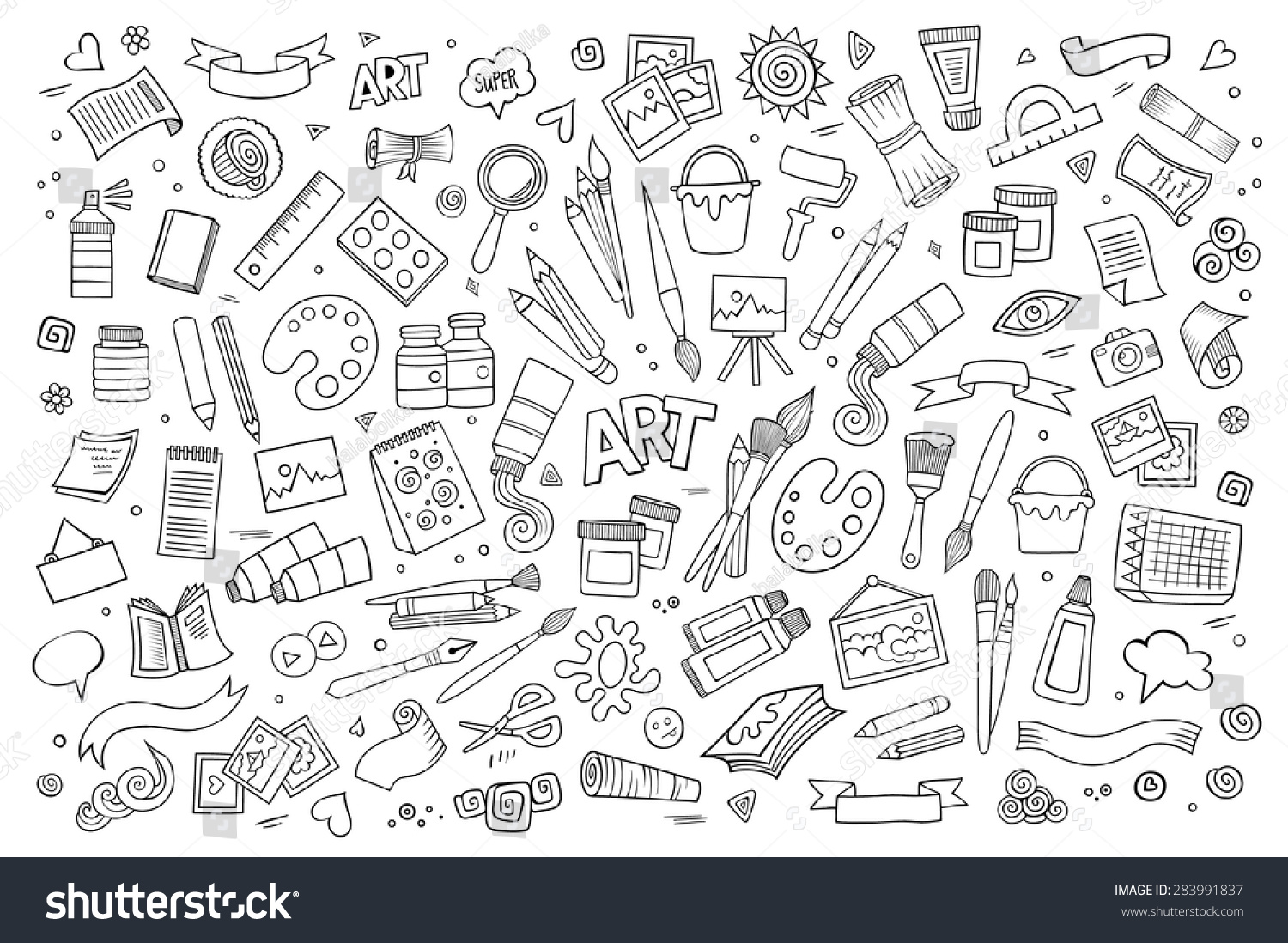 Notebook And Pen Sketch Stock Vector Art More Images Of: Art Craft Hand Drawn Vector Symbols Stock Vector 283991837