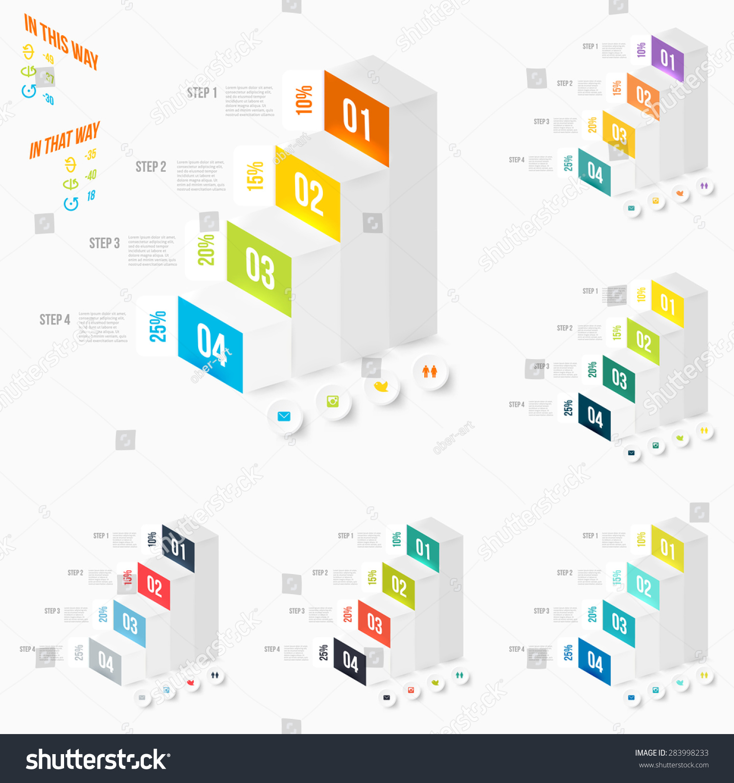 Set modern infographics element number template stock vector set of modern infographics element number template pyramid diagram with four steps vector illustration ccuart Images