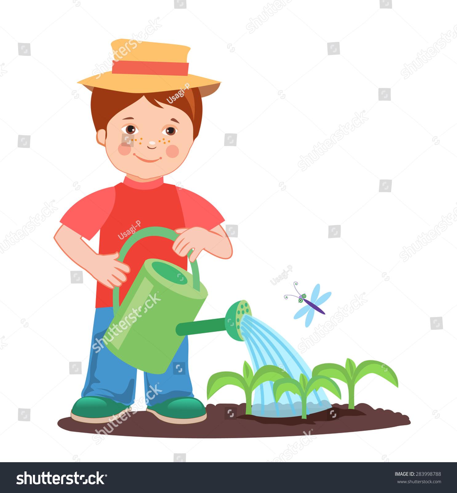 Garden Cute Cartoon: Young Farmer Working Garden Garden Watering Stock Vector