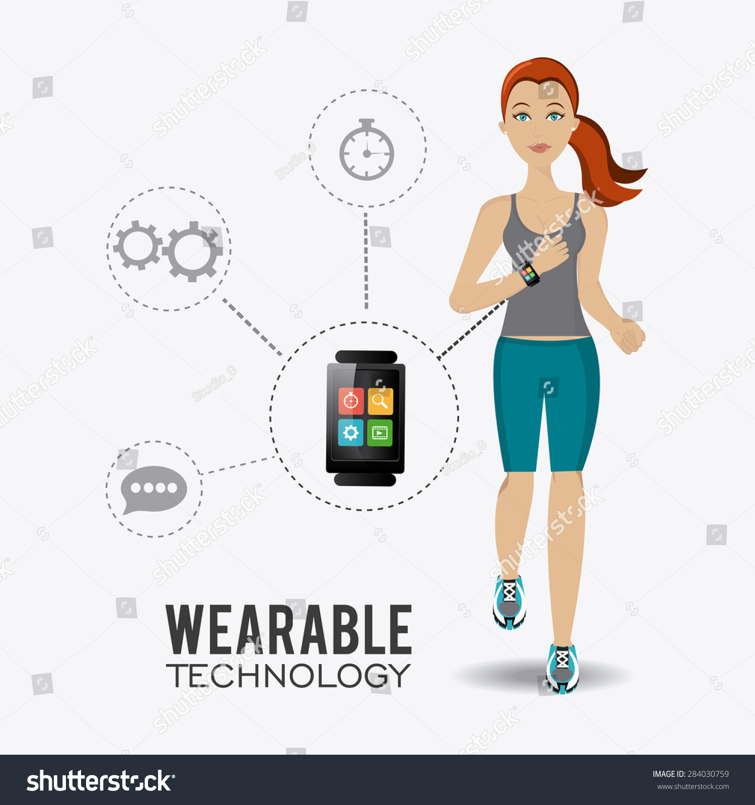 Fitness Design Over White Background Vector Stock Vector 284030759 ... for Physical Fitness Design  545xkb
