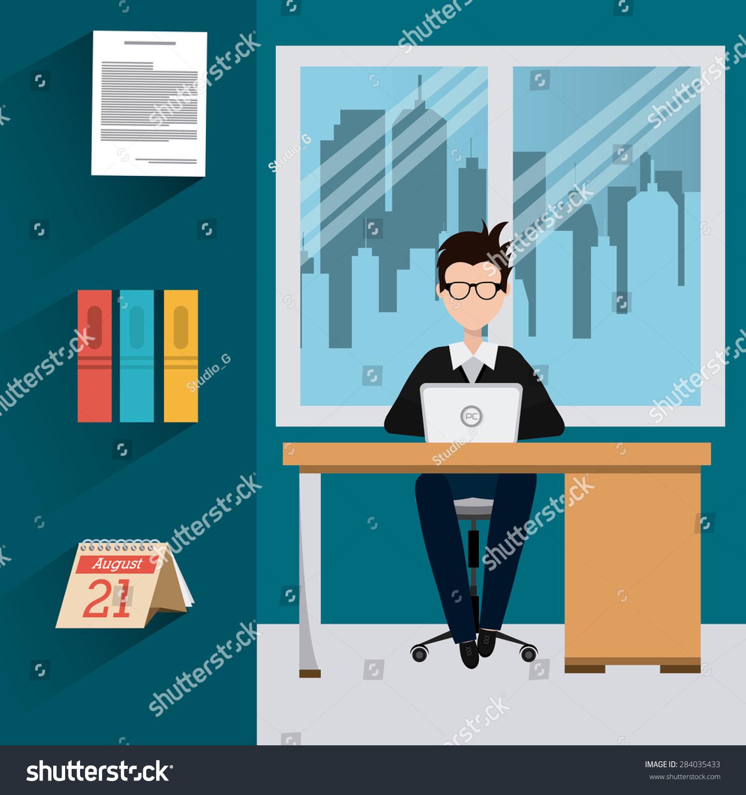Office Design Over Office Scene Background Stock Vector (Royalty ...