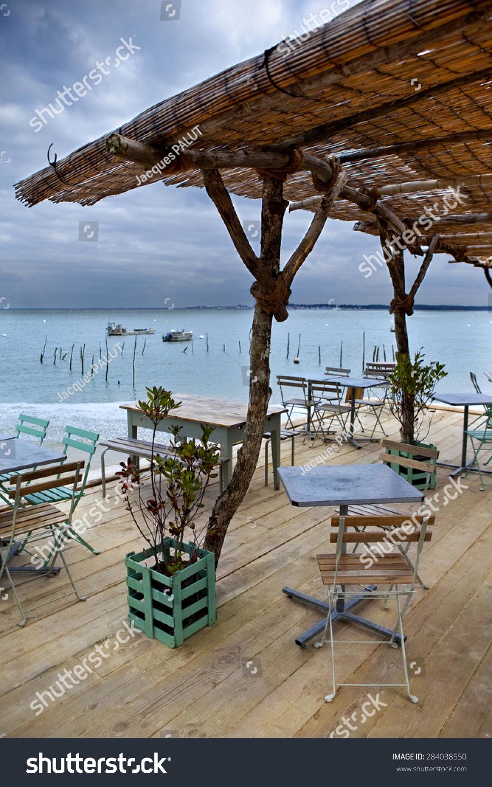 Wooden Terrace Facing Beach Near Bordeaux, France Stock