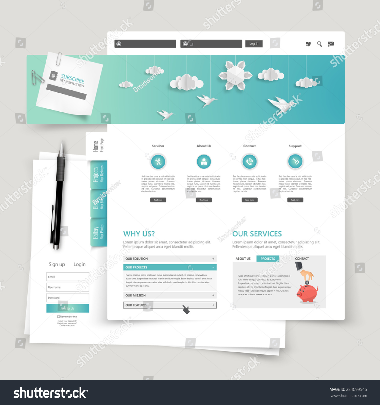 modern creative website template design stock vector royalty free