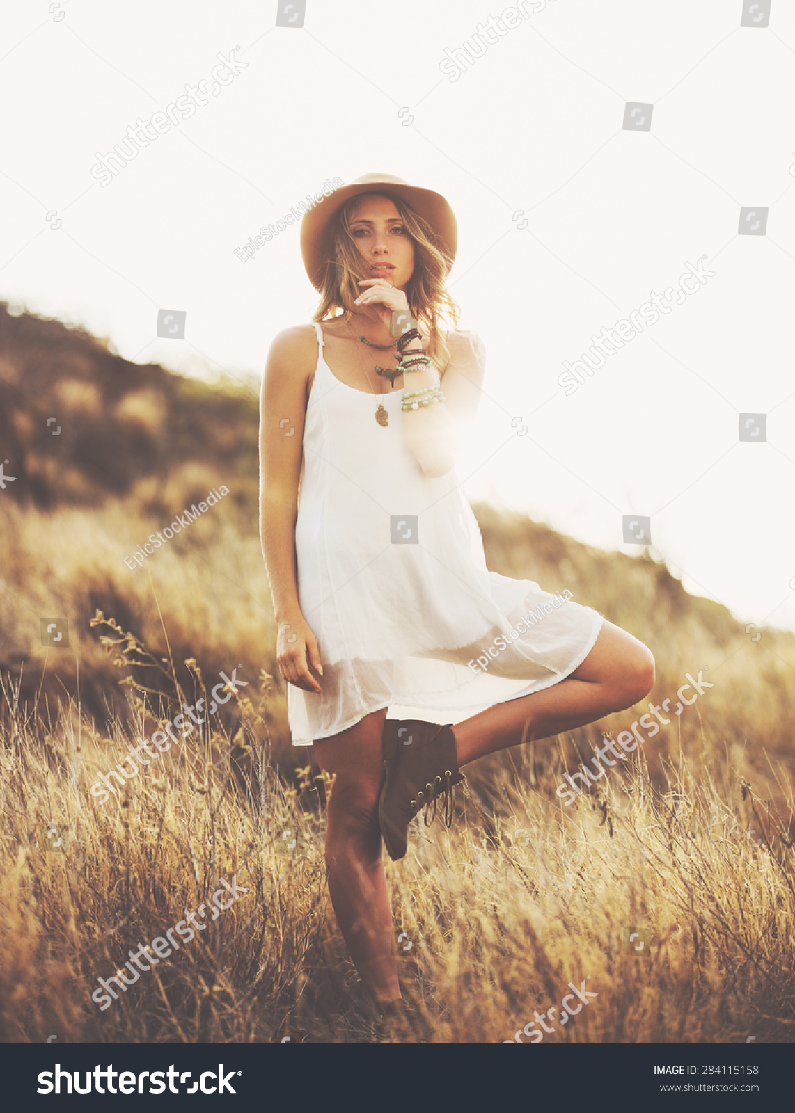 Fashion Lifestyle Fashion Portrait Of Beautiful Young Woman Outdoors Soft Warm Vintage Color