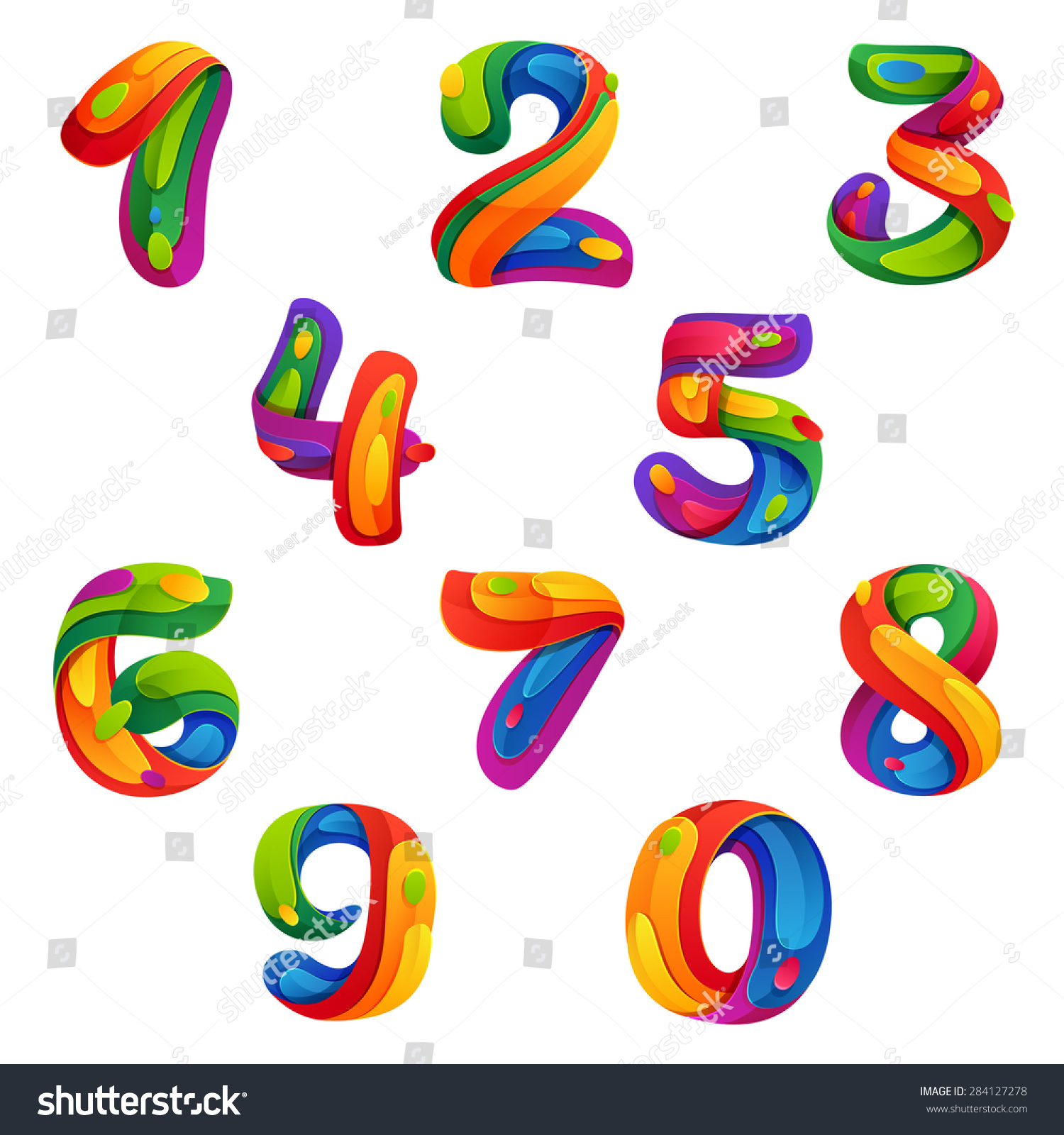 Numbers set volume splash style vector stock vector for Blueprint number
