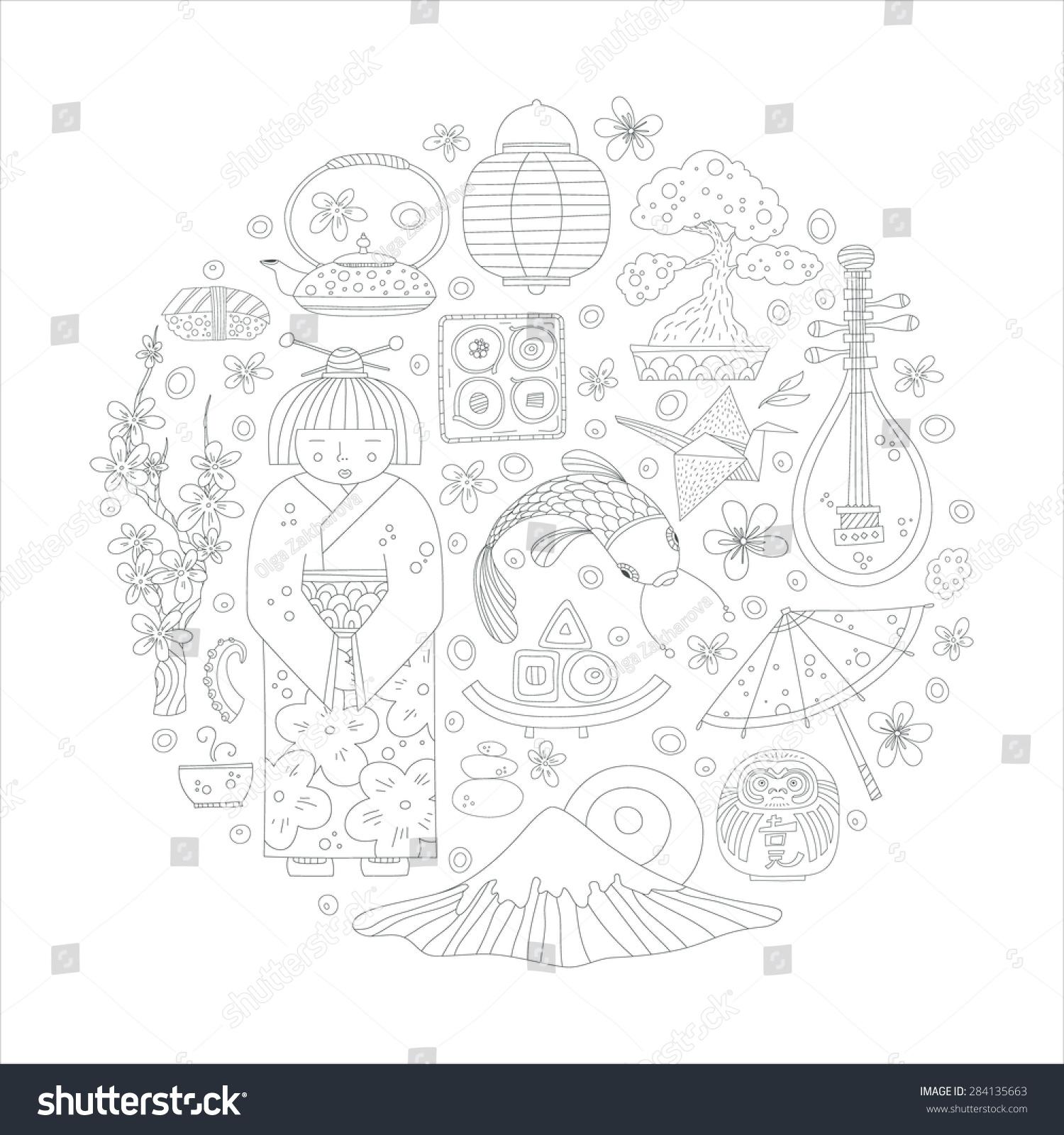 Traditional japanese symbols including sakura fuji stock vector traditional japanese symbols including sakura fuji geisha sushi asian vector graphic elements biocorpaavc