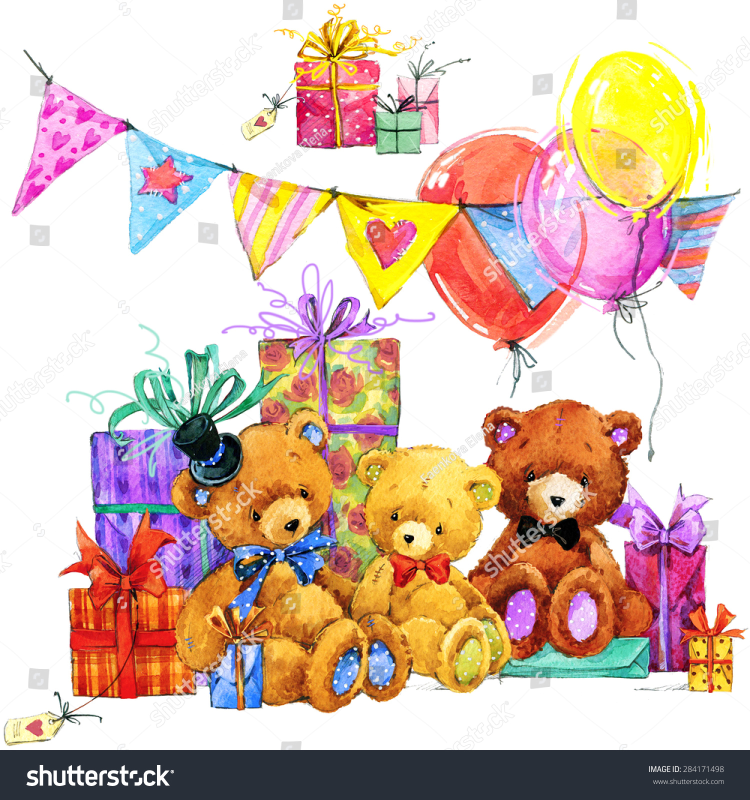 Teddy bear.Toy background for celebration kids Birthday festival watercolor illustration