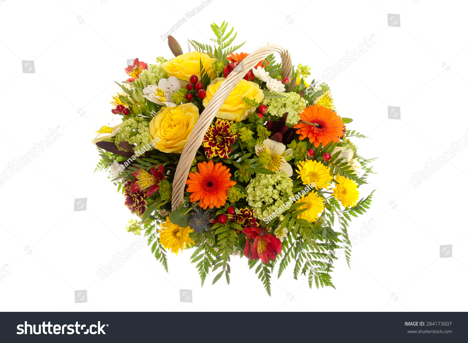 Beautiful flowers in a basket isolated on white ez canvas id 284173607 izmirmasajfo