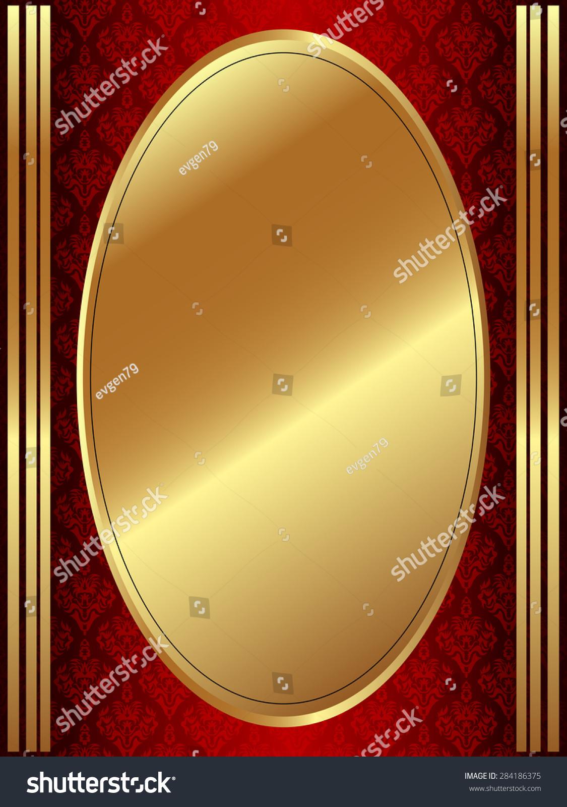 Vertical Gold Oval Frame On Dark Stock Vector 284186375 - Shutterstock