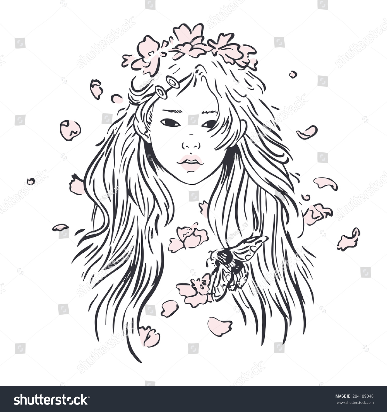 Portrait young girl flower crown bumblebee stock vector royalty the portrait of young girl with flower crown and bumblebee izmirmasajfo
