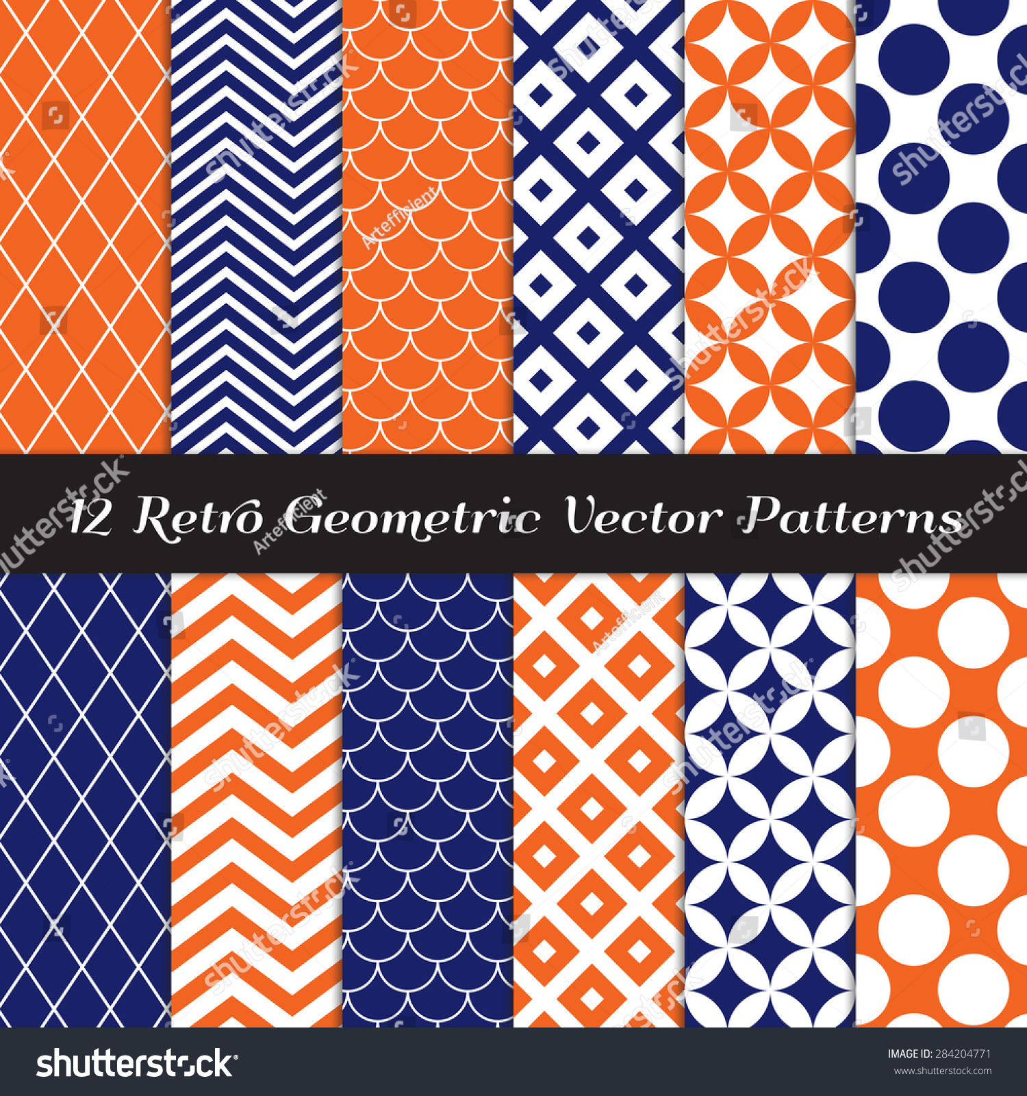 Blue And Orange | stock vector navy blue orange and white retro geometric patterns mod backgrounds in jumbo polka dot diamond 284204771